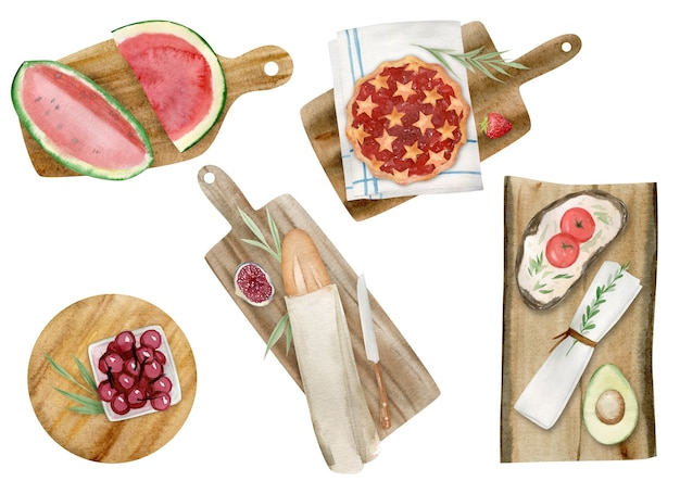 Hand drawn watercolor clipart set of summer picnic elements isolated on white background. Premium Photo