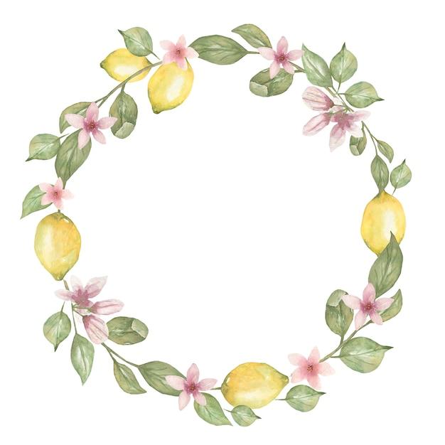 Hand drawn watercolor round wreath  with lemon. Premium Photo