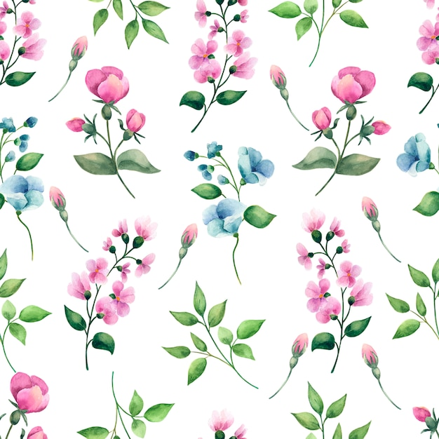 Hand drawn watercolor seamless pattern with flowers. Premium Photo