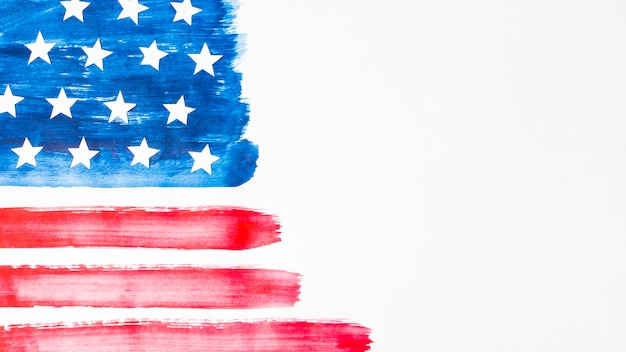 Hand-drawn watercolor usa flag on white background Free Photo