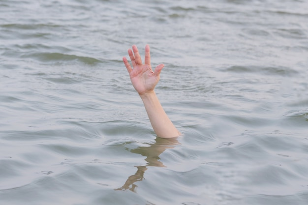 Hand drowning in the sea Premium Photo