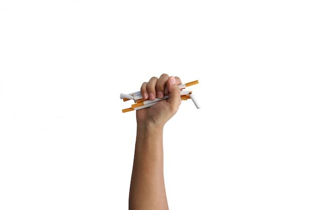 Рука держать сигарету для спасения жизней Premium Фотографии