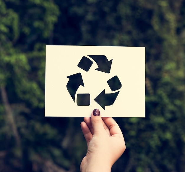 Hand hold recycle sign paper carving Free Photo