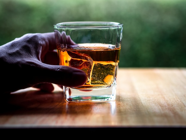 Hand hold whiskey glass with nature background Premium Photo