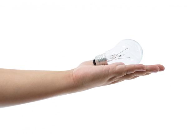 Рука накаливания на белом фоне Premium Фотографии