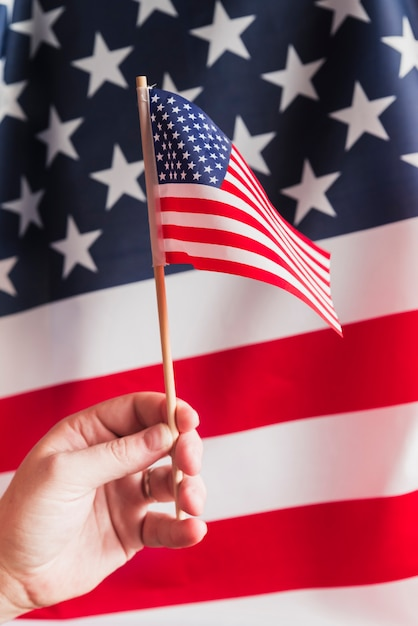 Hand holding flagpole with american flag Free Photo