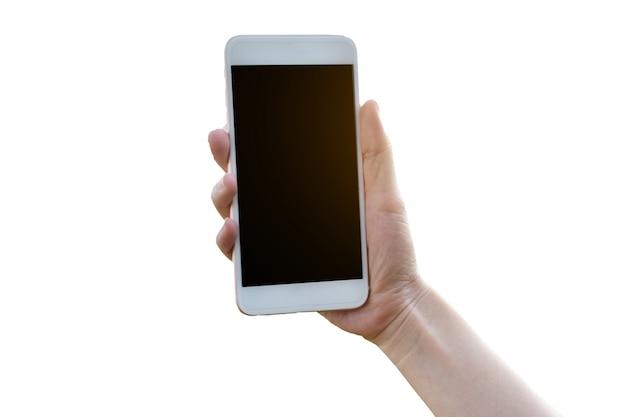 Hand holding mobile smart phone on white background Premium Photo