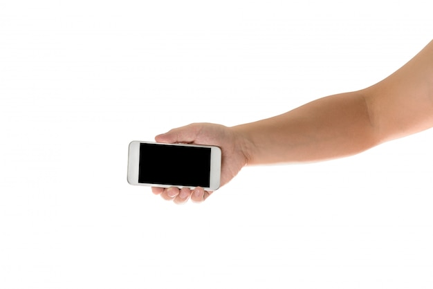 Hand holding mobile smart phone with blank screen. isolated Premium Photo