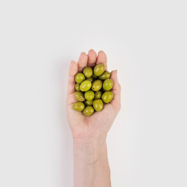 Hand holding organic olives Free Photo