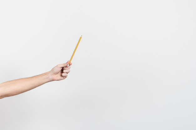 Hand holding a pencil with copy space background Free Photo