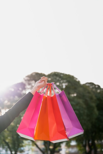 Hand holding shopping bags with tree behind Free Photo
