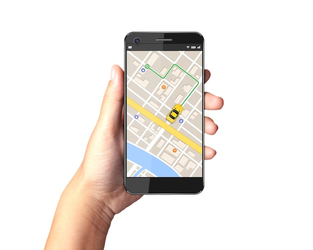 Premium Photo   Hand holding smartphone with gps navigator map on display