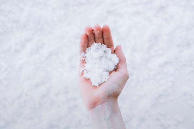 Hand holding snow Free Photo