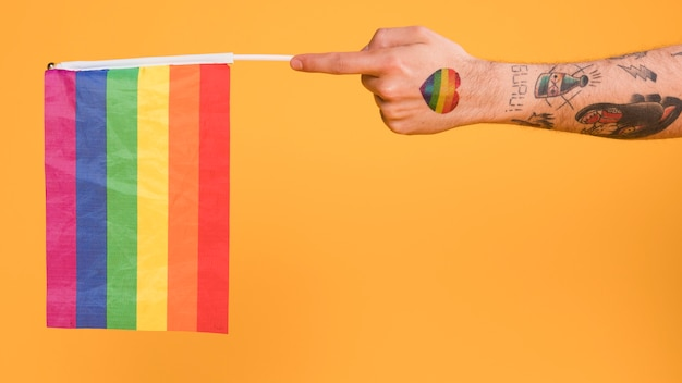 Hand of homosexual man holding lgbt flag Free Photo