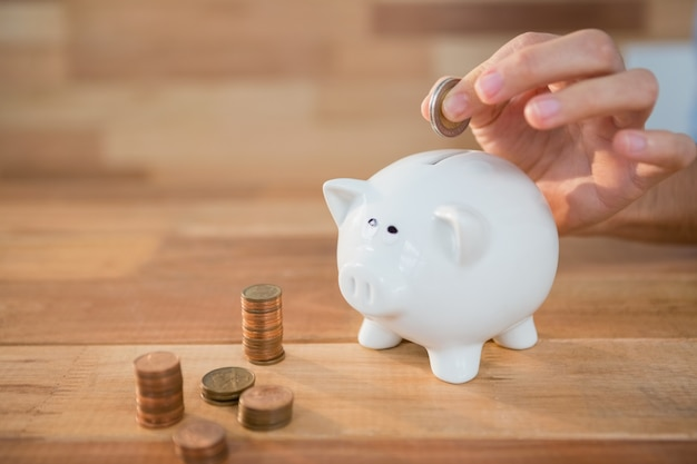 Hand inserting coin in piggy bank Free Photo