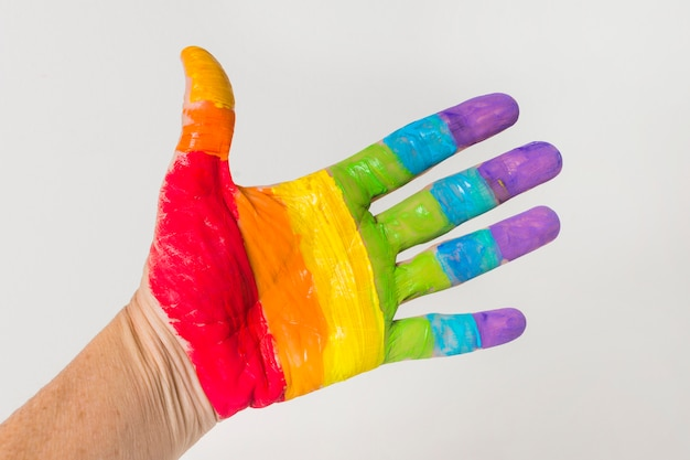 Hand in lgbt colors Free Photo