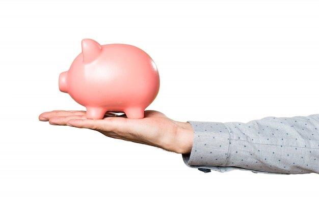 Hand of man holding holding a piggybank Free Photo