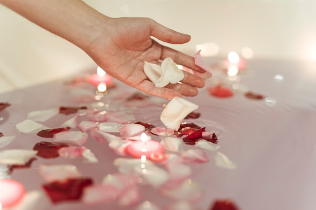 Hand near flower petals on water near burning candles Free Photo