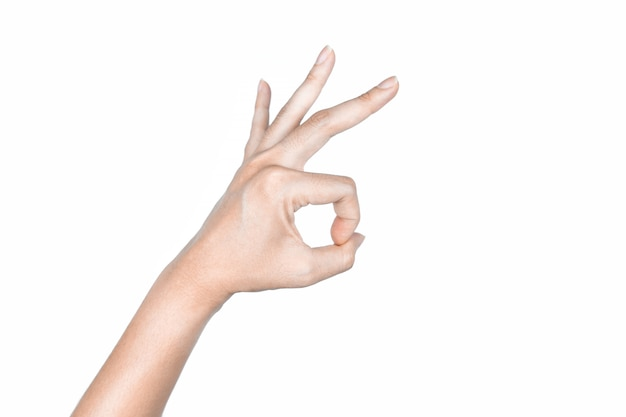Hand ok signs on isolated white background Premium Photo