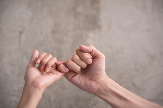 Hand to pinky swear, pinky promise hand signs. Premium Photo