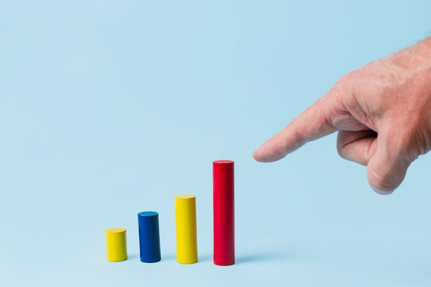Hand pointing to statistic bars Free Photo