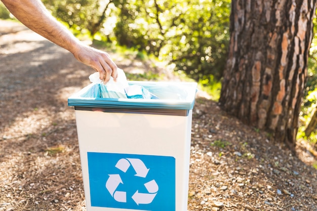 Hand throwing garbage in trash bin in forest Photo | Free ...