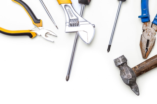 Hand tools isolated on a white background Premium Photo