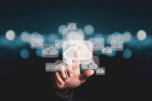Hand touching to virtual artificial intelligence with cloud technology transformation and internet of thing . cloud technology management big data include business strategy , customer service. Premium Photo