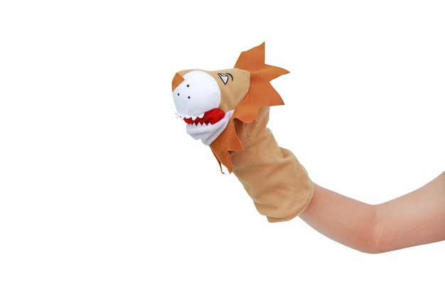 Hand wearing lion puppets isolated on white background Premium Photo