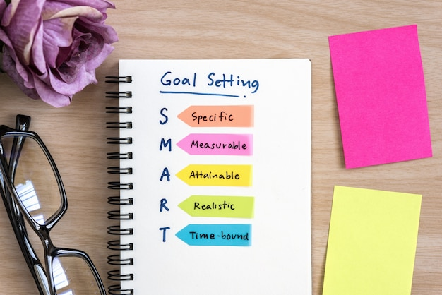 Hand writing definition for smart goal setting on notebook Free Photo