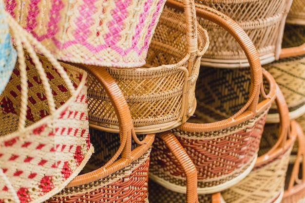 Handcraft woven basket product of thailand otop shop sme best thai quality for sale. Premium Photo