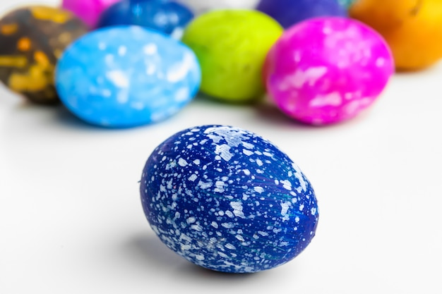 Handmade easter eggs isolated on a white Premium Photo