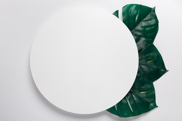 Handmade paper circle with leaves beside Free Photo