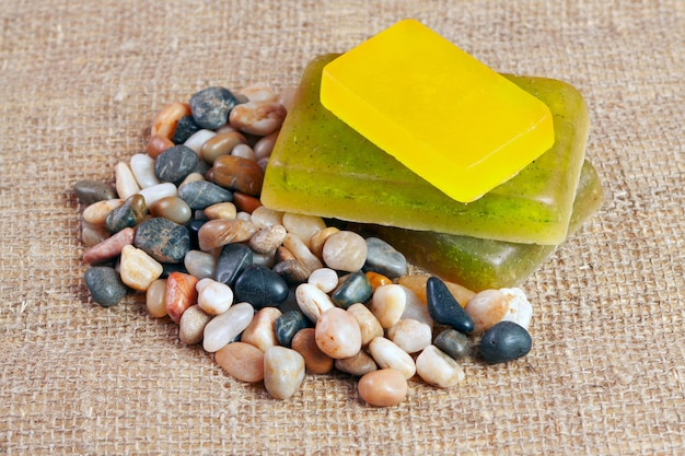 Handmade soap with herb Premium Photo