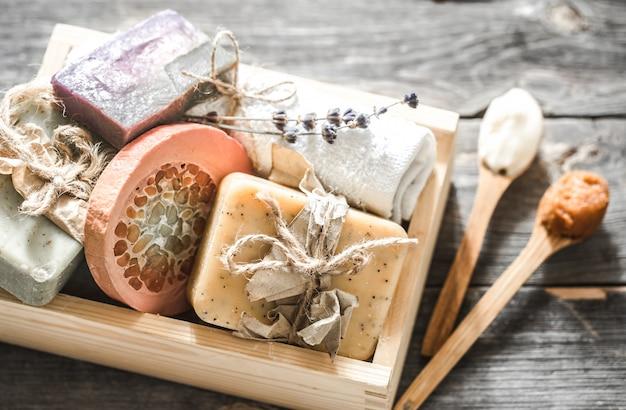 Handmade soap on wooden table Premium Photo