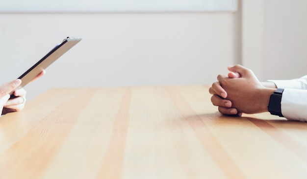 Hands of the businessman on the table Premium Photo