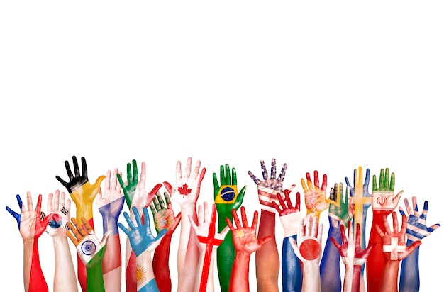 Hands flag symbol diverse diversity ethnic ethnicity unity concept Premium Photo