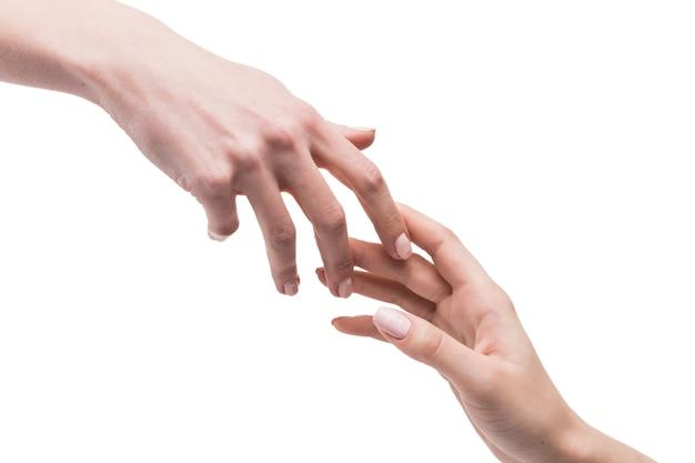 부드럽게 서로 손을 만지고 무료 사진