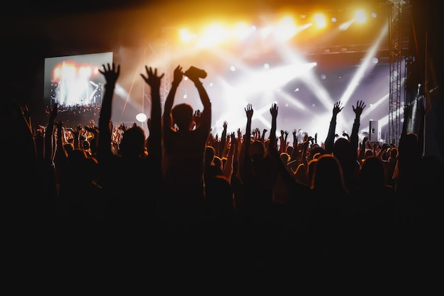 Hands of happy people crowd having fun at stage at summer live rock festival Premium Photo