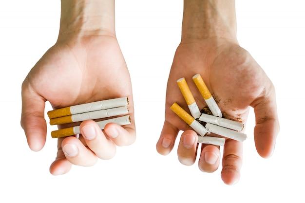 Hands hold cigarette alternative full or break Premium Photo
