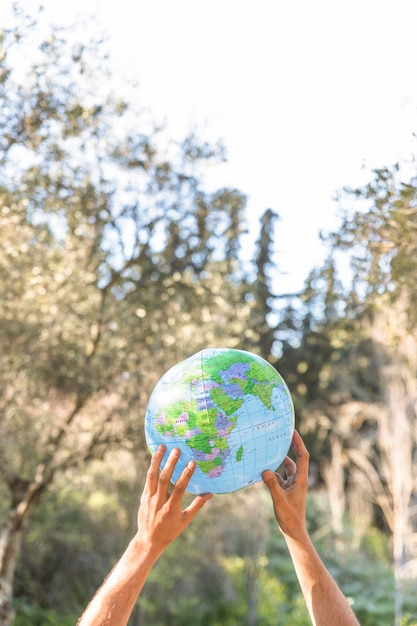 Hands holding blue planet model Free Photo
