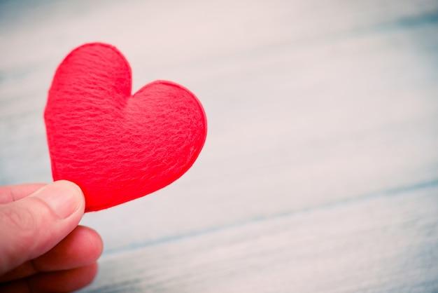 心を持った手は、愛の慈善事業に寄付をし、バレンタインデーの暖かさを大切にします。 Premium写真