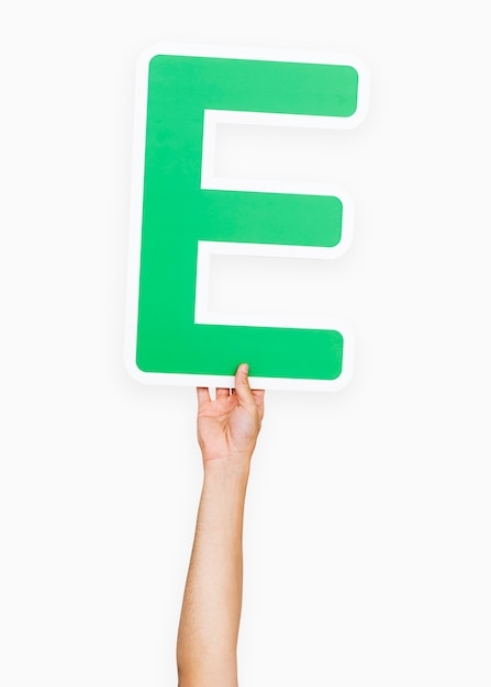 Hands holding the letter e Free Photo