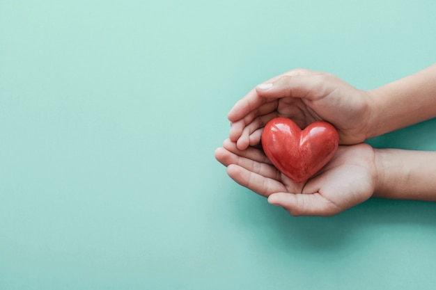 Hands holding red heart on blue background Premium Photo