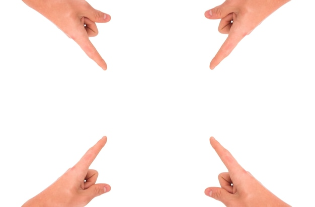 Hands pointing to center Free Photo
