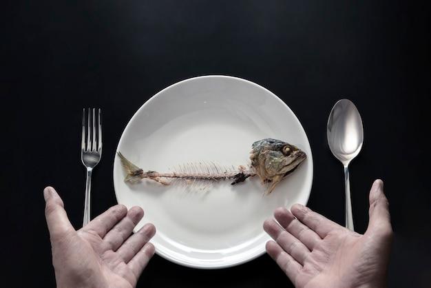 Hands show fishbones to eat Premium Photo