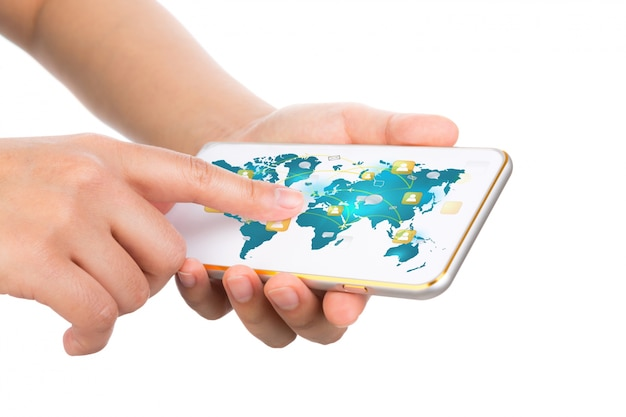 Hands touching a mobile with a world map photo free download hands touching a mobile with a world map free photo gumiabroncs