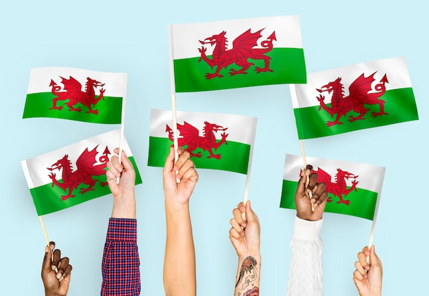 Hands waving flags of wales Free Photo