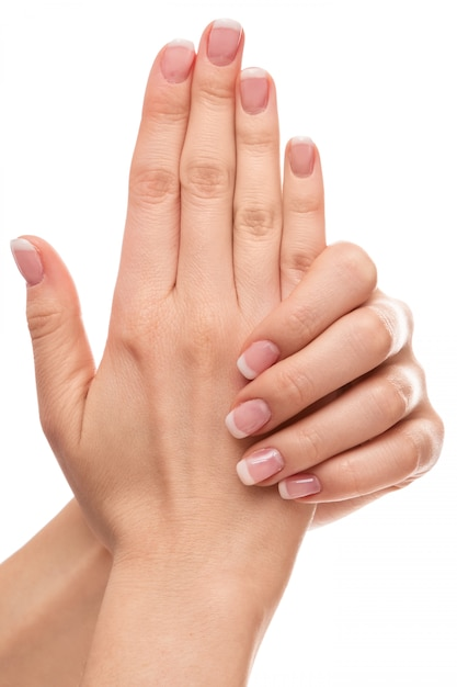 Hands with french manicure Premium Photo