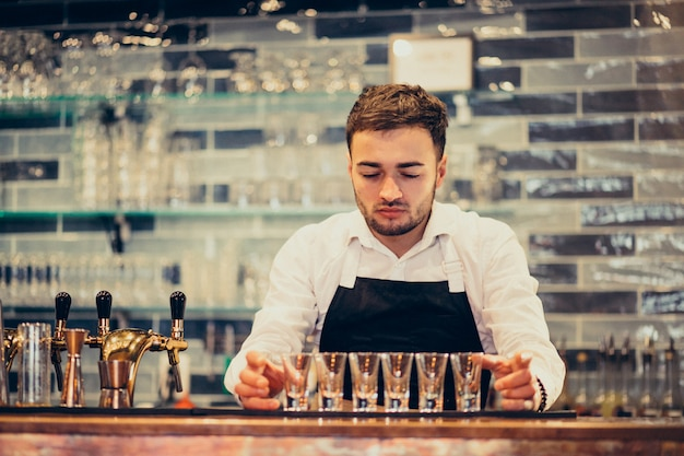 Handsome bartender man making drinking and cocktails at a counter Free Photo